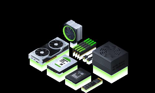 Hardware Grafik in grün und grau