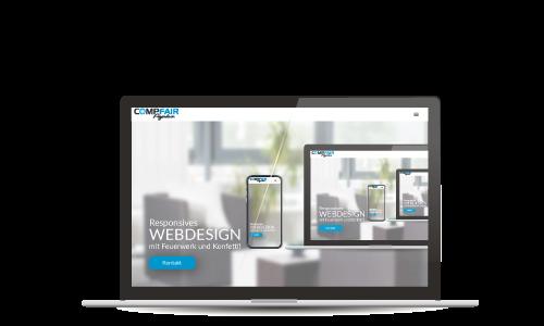 Laptop Bildschirm mit Webdesign Werbung
